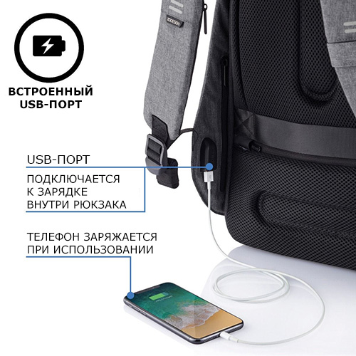 Рюкзак Bobby оснащен USB портом